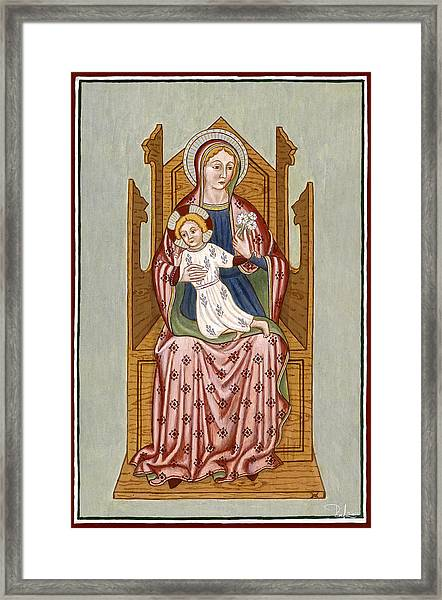 Madonna Col Bambino In Trono - Mother Of God On The Throne. Framed Print