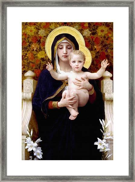 Madonna Of Lilies Framed Print