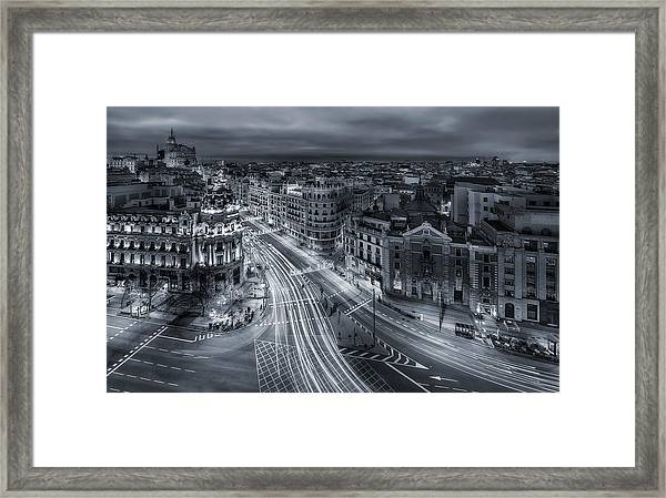 Madrid City Lights Framed Print