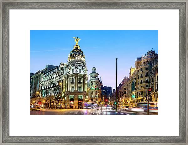 Madrid, Metropolis Building At Night Framed Print