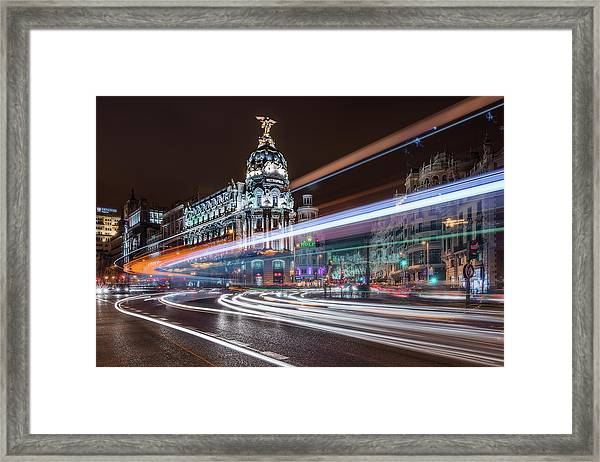 Madrid Traffic Framed Print