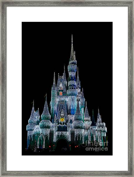 Magic Kingdom Castle Frozen Blue Frost For Christmas Framed Print