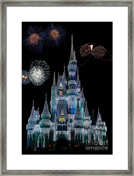 Magic Kingdom Castle Frozen Fireworks Framed Print
