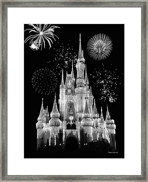 Magic Kingdom Castle In Black And White With Fireworks Walt Disney World Framed Print