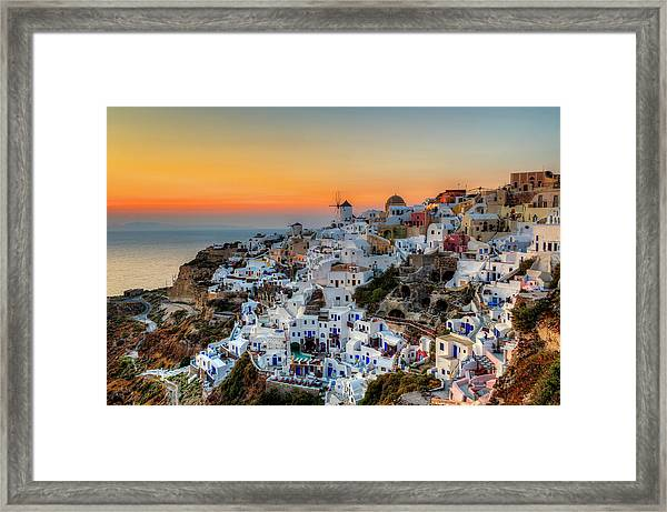 Magic Sunset In Santorini Framed Print by George Papapostolou Photographer