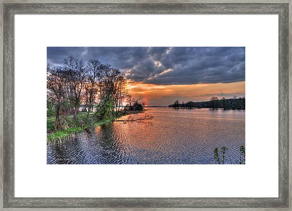 Magic Sunset Over Zegrze Lake Near Warsaw In Poland Framed Print