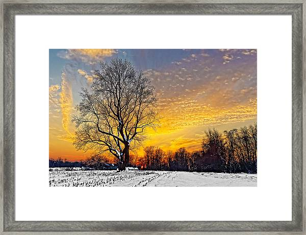 Framed Print featuring the photograph Magical Winter Sunset by William Jobes
