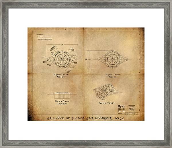 Magneto System Blueprint Framed Print