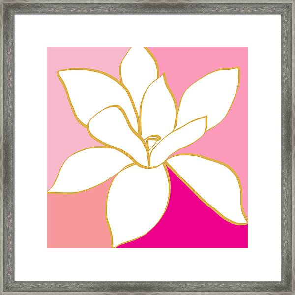 Magnolia 1- Colorful Painting Framed Print