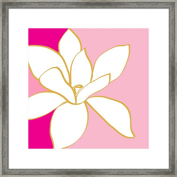 Magnolia 2- Colorful Floral Painting Framed Print