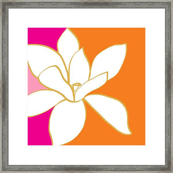 Magnolia 3- Colorful Flower Art Framed Print
