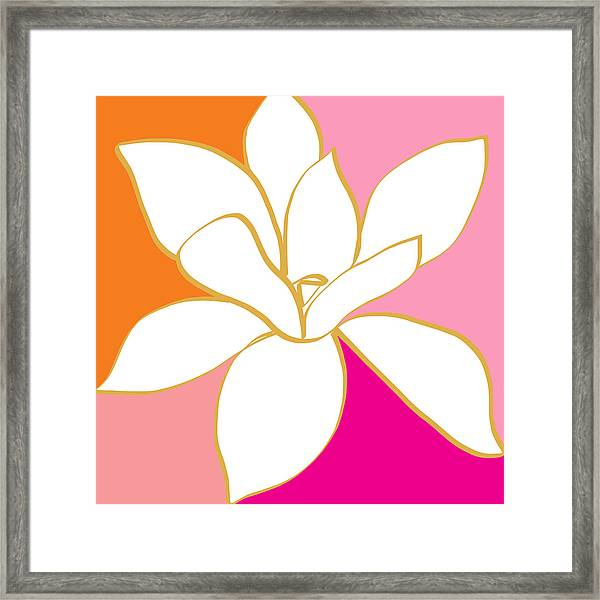Magnolia 4- Colorful Flower Art Framed Print