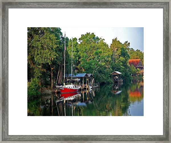 Magnolia Red Boat Framed Print