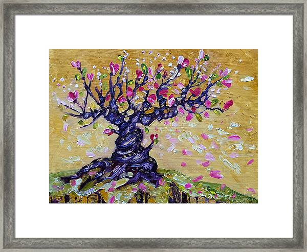 Magnolia Tree Flower Painting Oil On Canvas By Ekaterina Chernova Framed Print