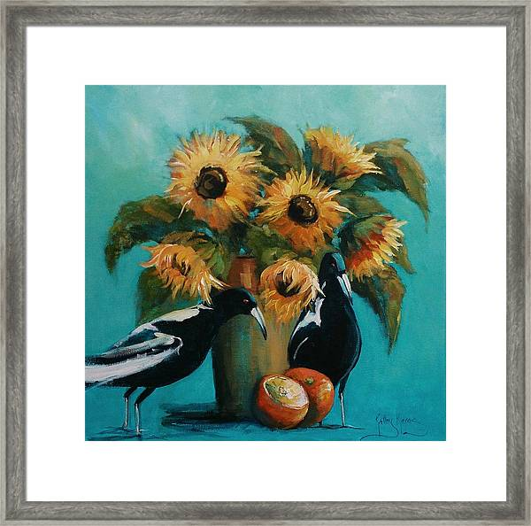 Magpies In Blue Framed Print