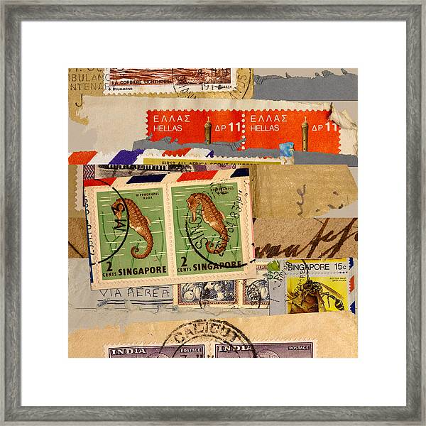 Mail Collage Singapore Seahorse Framed Print