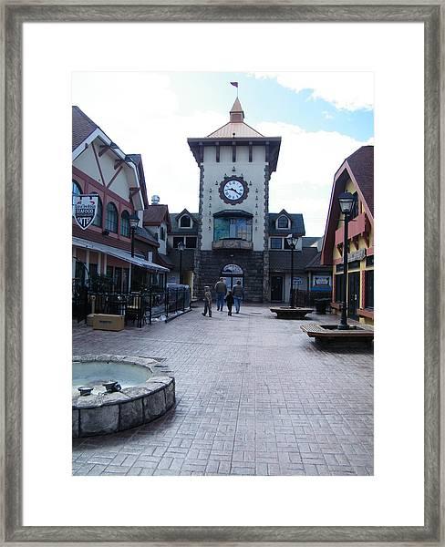 Main Street Clock Framed Print