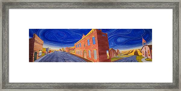 Framed Print featuring the painting Main Street Panoramic by Scott Kirby