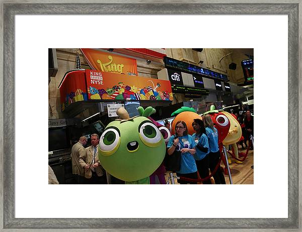 Makers Of Popular Candy Crush Game Make Public Debut On New York Stock Framed Print by Andrew Burton