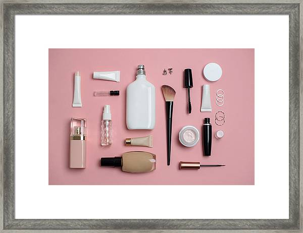 Makeup Bag With Variety Of Beauty Products Framed Print by Emilija Manevska