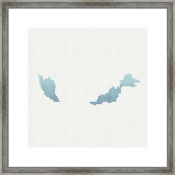 Malaysia Map Blue Dot Pattern Framed Print by FrankRamspott