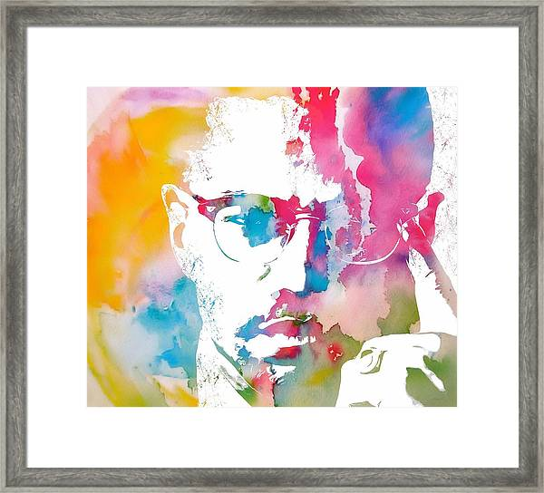 Malcolm X Watercolor Framed Print