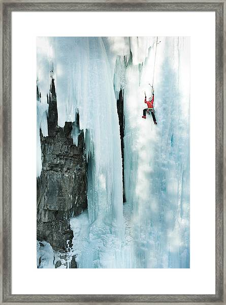 Male Ice Climber Scales Big Ice-covered Framed Print