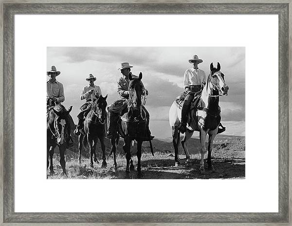 Male Models For The Gap Riding Horses Framed Print