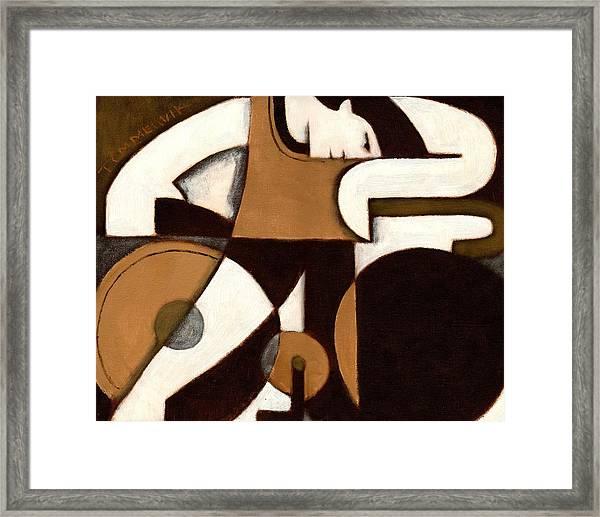 Tommervik Art Deco Man And Bike Cycling Art Print Framed Print