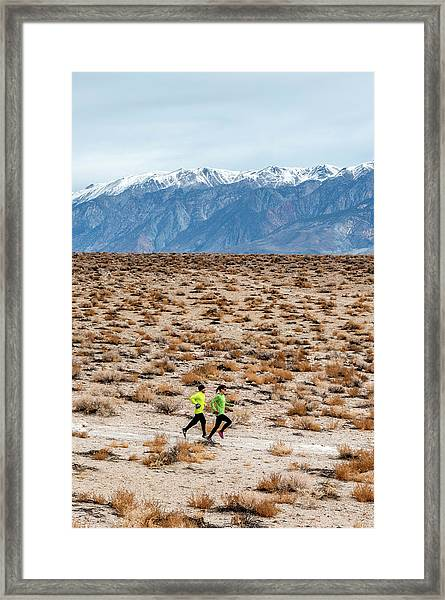 Man And Woman  Trail Running Framed Print