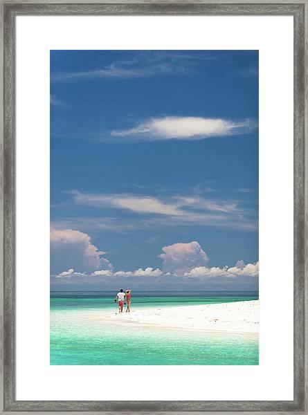 Man And Woman Walking Along Beach Framed Print