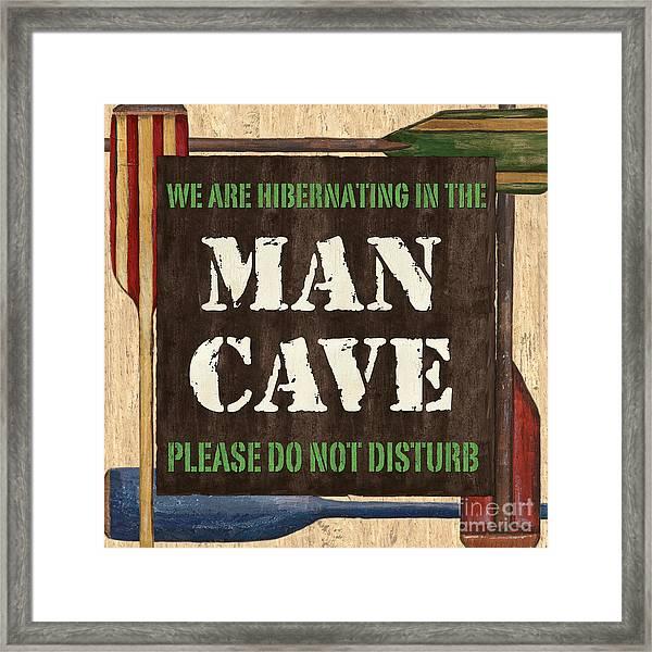 Man Cave Do Not Disturb Framed Print