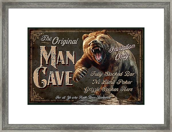 Man Cave Grizzly Framed Print