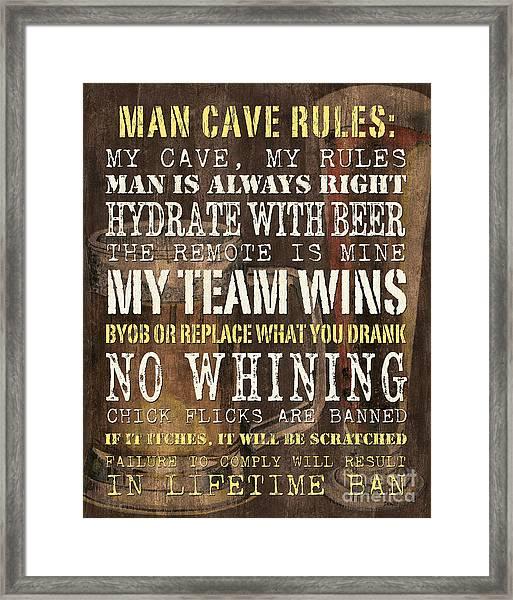 Man Cave Rules 2 Framed Print