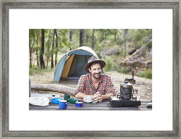 Man Cooking And Camping In Australian Bush Framed Print by Stuart Miller