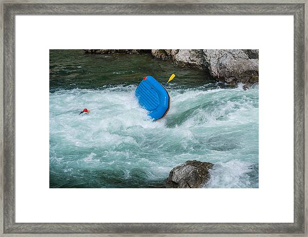 Man Floating In A River After His Raft Flipped Over While White Water River Rafting Framed Print by Tdub303