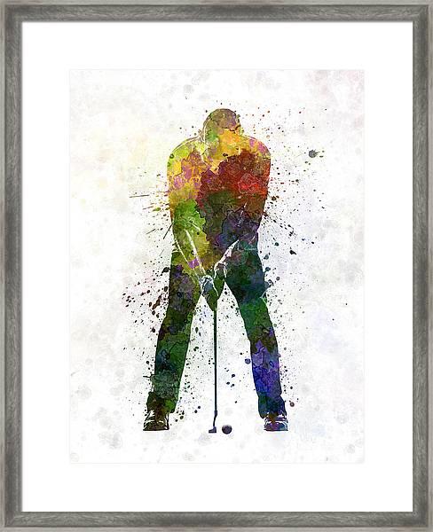 Man Golfer Putting Silhouette Framed Print