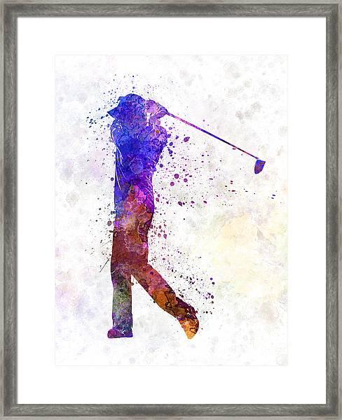 Man Golfer Swing Silhouette Framed Print