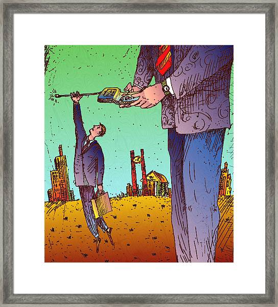Man Hanging To Cell Phone Framed Print by Vasily Kafanov