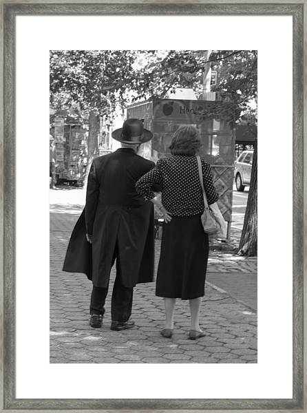 Man Hat And Woman Framed Print