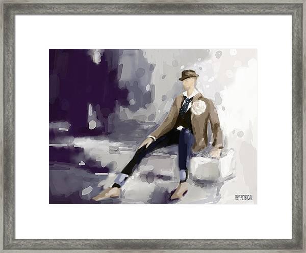 Man In A Fedora Fashion Illustration Art Print Framed Print