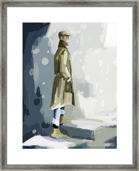 Man In A Trench Coat Fashion Illustration Art Print Framed Print