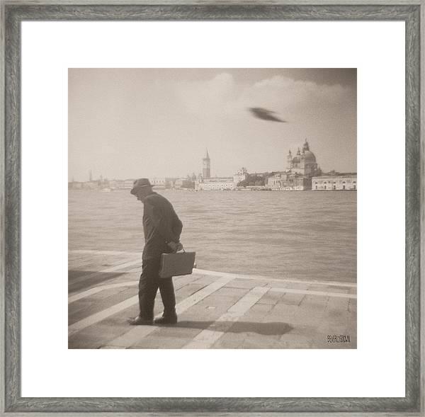 Man In Fedora With Bird Framed Print