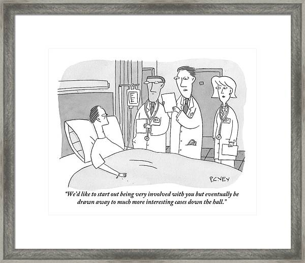 Man In Hospital Bed Speaking To Three Doctors Framed Print