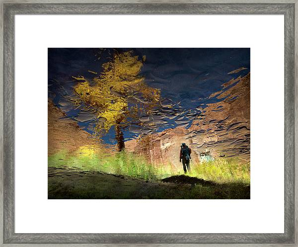 Man In Nature - Into The Canyon Framed Print