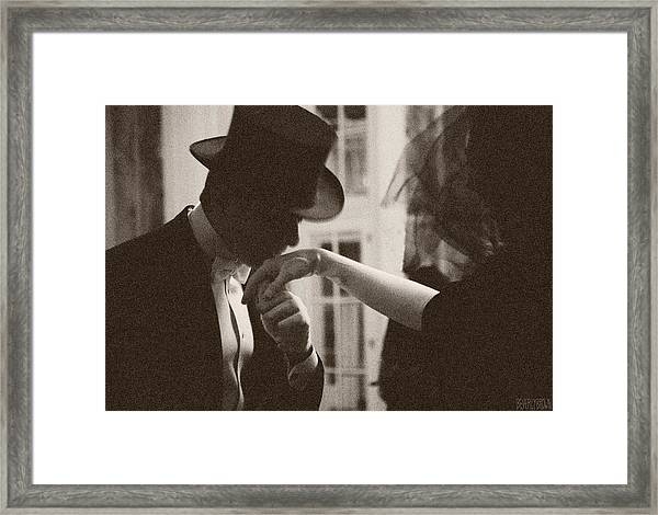 Man Kissing A Womans Hand Framed Print