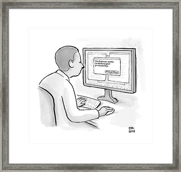Man Looks At Computer Screen In Which An Alert Framed Print