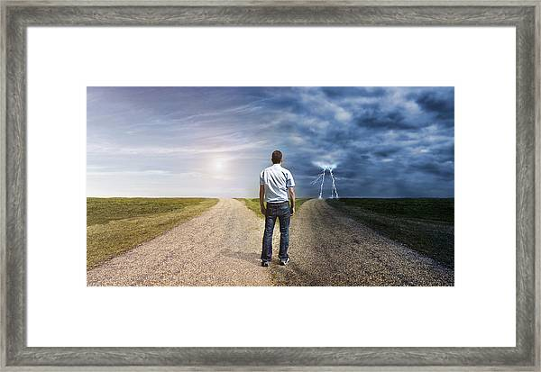 Man Must Decide His Way Forward To Success Or Failure Framed Print by Mikkelwilliam