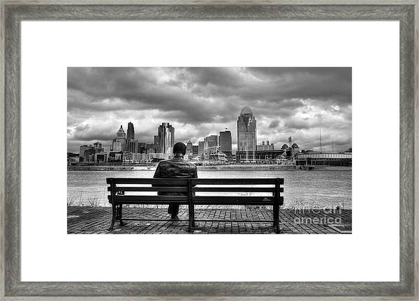 Framed Print featuring the photograph Man On A Bench by Mel Steinhauer