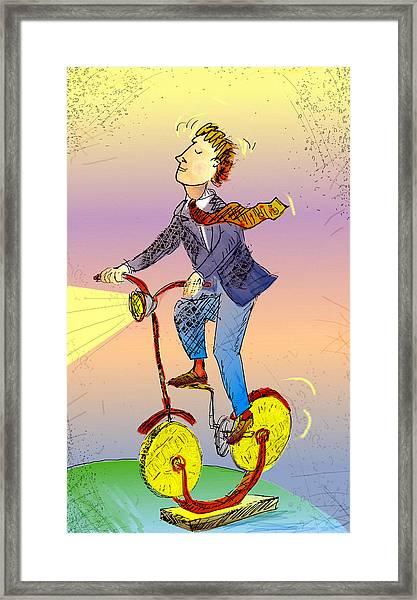 Man On Bike Made Of Coins Framed Print by Vasily Kafanov